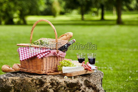 elegant picnic with red wine cheese