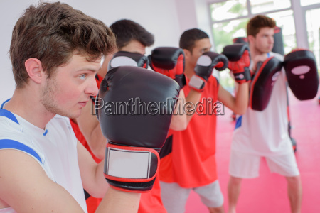 boys in a boxing class