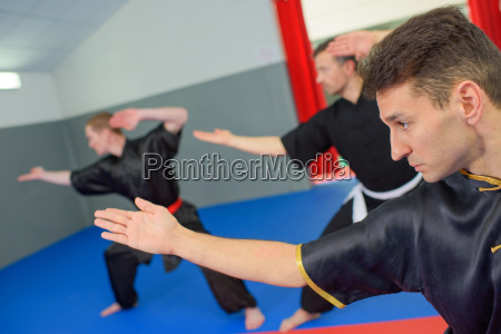 martial arts class in action