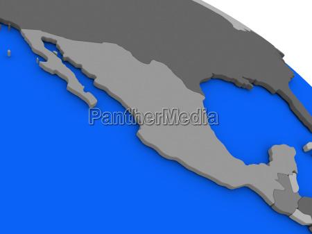 mexiko auf politischem erdmodell