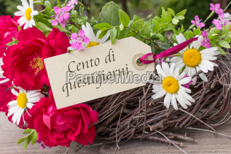 italian birthday card with summer flowers