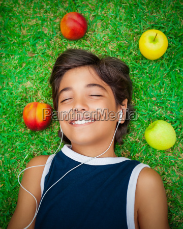 happy boy listening to music