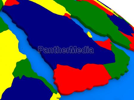 arabische halbinsel auf buntem 3d globus