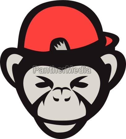 schimpanse kopf baseballmuetze retro