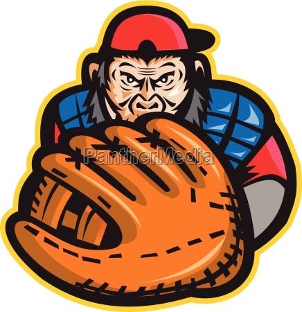 schimpanse baseball catcher handschuh retro