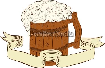 medieval beer mug foam drawing