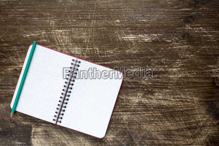 notebook top view copy space