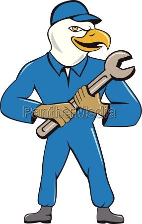 amerikanischer bald eagle mechanic spanner cartoon