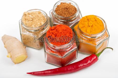 verschiedene gewuerze ingwer chili kurkuma in
