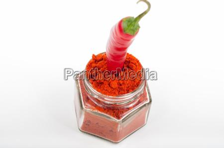 chili pfeffer pulver in glas jar