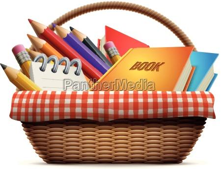 school supplies in wicker picnic basket
