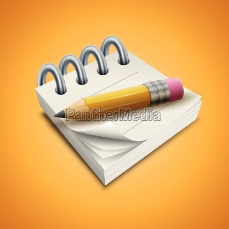 vector illustration of pencil and notepad