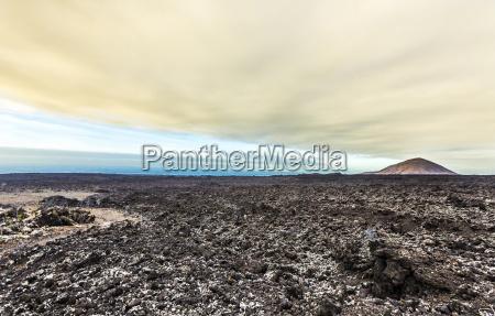 sunset at timanfaya volcanic national park