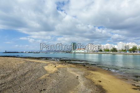 seaside view to promenade of arrecife