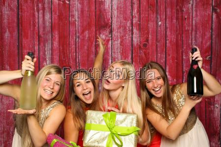 girl group photo booth birthday