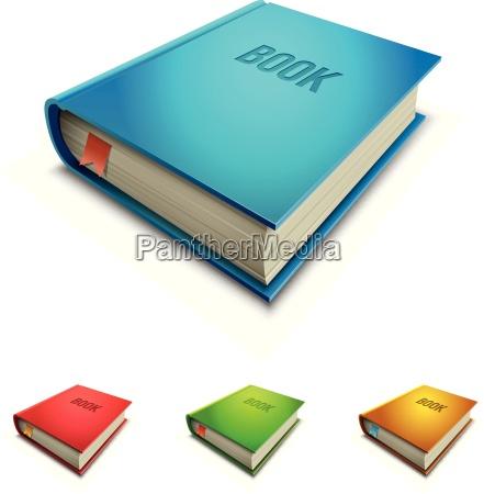 vector hardcover book icon set