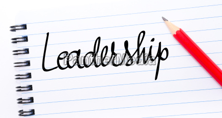 leadership written on notebook page