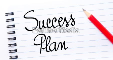 success plan written on notebook page