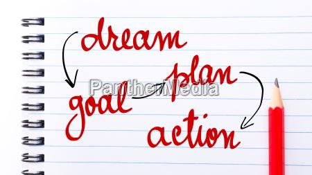 dream goal plan action written on