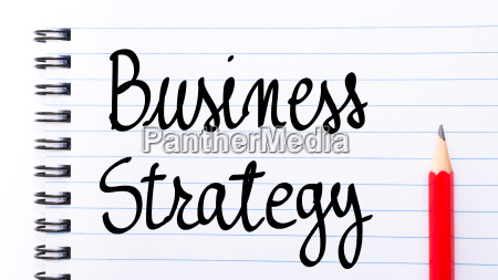 business strategy written on notebook page