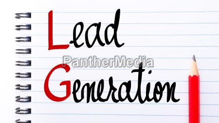 lg lead generation written on notebook
