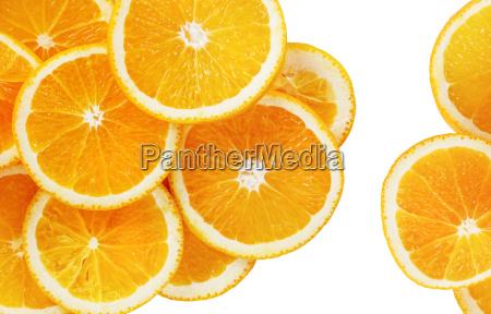 orange scheiben auf weiss