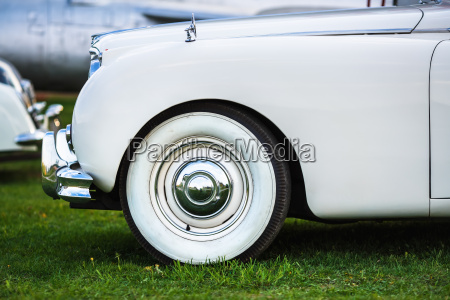 white retro car