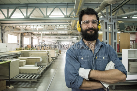 man with hearing protection safety glasses