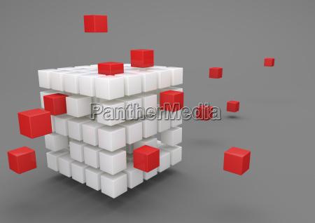 3d illustration outsourcing porzellanwuerfel mit roten
