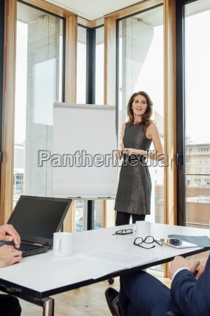 geschaeftsfrau bei einer praesentation am flipchart