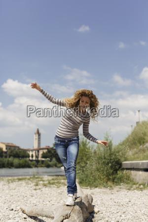 italy verona woman balancing on dead