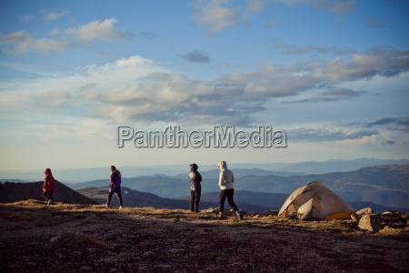 camping on a mountain ridge