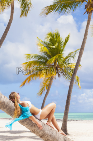 dominican rebublic young woman relaxing on