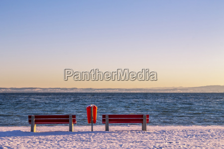switzerland arbon two red benches and