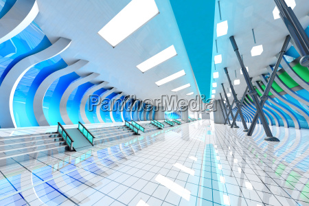 futuristische halle 3d rendering