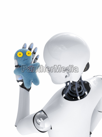 robot looking at doll 3d rendering