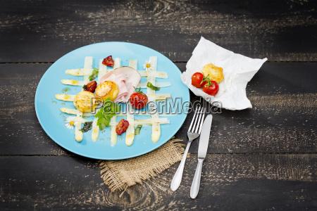 carpaccio of white asparagus with ramson