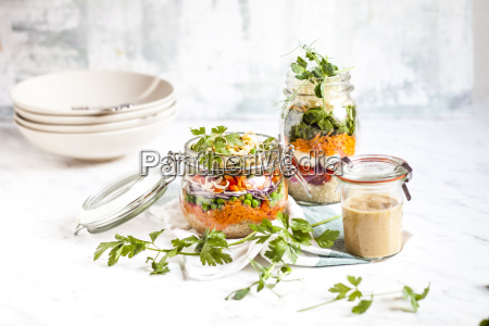 rainbow salads in jars quinoa carrots