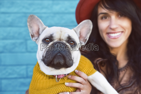 portrait of french bulldog and smiling