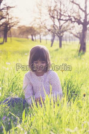 portrait of smiling little girl sittiing