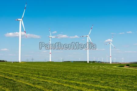 windmills in a mown field in