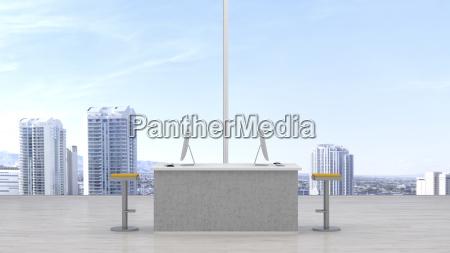 moderne arbeitsbereich vor skyline 3d rendering