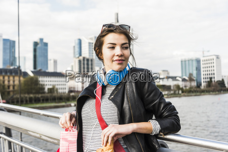 young woman in the city with