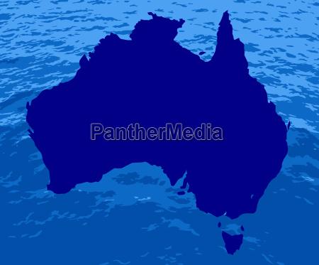 australische silhouette ozean karte