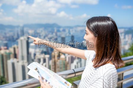 woman travel in hong kong city