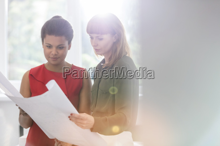 female architects reviewing blueprints in office