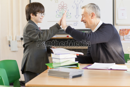 teacher and middle school student high