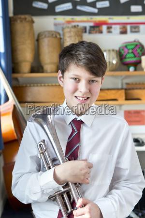 portrait confident middle school student with