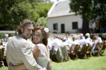bride and groom at outdoor wedding