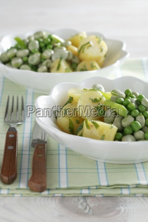 green summer vegetables with potatoes